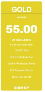 personal trainer app gold pricing from coachfit