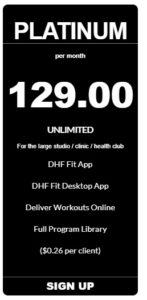personal trainer app platinum pricing from coachfit