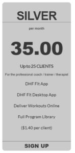 personal trainer app silver pricing from coachfit